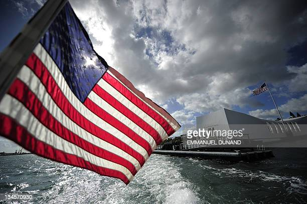 STORY by Patrick BAERT US The USS Arizona Memorial at the Pearl Harbour historical site and memorial in Honolulu Hawaii on November 9 2011 On...