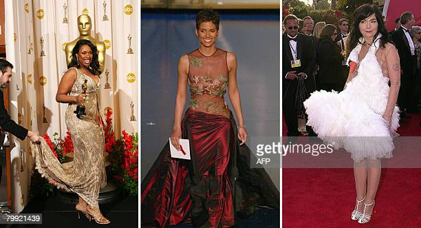STORY by PAULA BUSTAMENTE FILES The combo of file pictures shows US actress Jennifer Hudson US actress Halle Berry and Icelandic singer Bjork during...