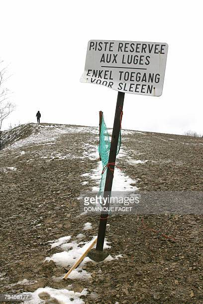 FRENCH by Philippe Siuberski An information banner reads 'Sledging piste' 01 Febuary 2008 at Belgian ski station ' La baraque de fraiture ' in the...