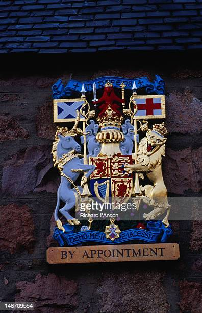 by royal appointment crest outside bakery. - royalty stock pictures, royalty-free photos & images