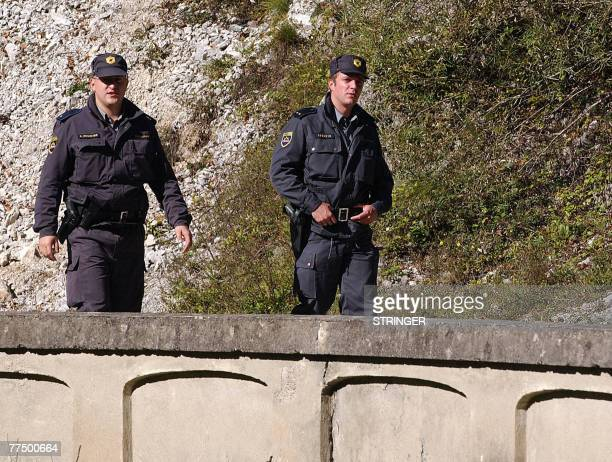 By Rusmir Smajilhodzic Recent picture of Slovenian border police patrol at blocked local bridge over Kupa river which makes a border between Croatia...
