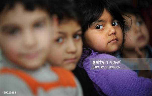 STORY by Vessela Sergueva Picture taken on February 15 shows Roma children in the Social medical centre in the Roma suburb of Fakulteta during a...