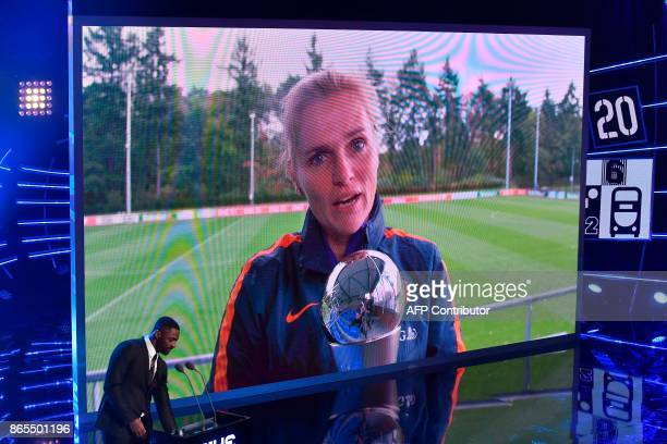 By videolink Netherland women's team's Dutch coach Sarina Wiegman holds his trophy as she speaks after winning The Best FIFA Women's Coach of 2017...