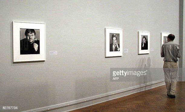 POLITICS by Virginie Montet A man looks at portraits by photographer Richard Avedon September 10 2008 during a press preview at the Corcoran Gallery...
