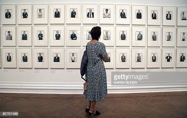 POLITICS by Virginie Montet A woman looks at portraits by photographer Richard Avedon on September 10 2008 during a press preview at the Corcoran...