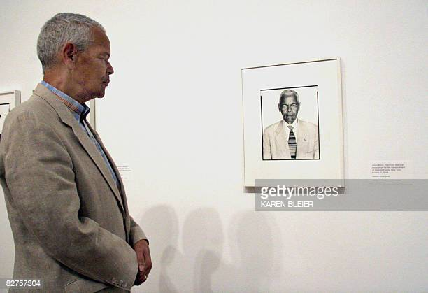 POLITICS by Virginie Montet Julian Bond Chairman of the NAACP looks at a portrait of himself taken by Richard Avedon in 2004 on September 10 2008...