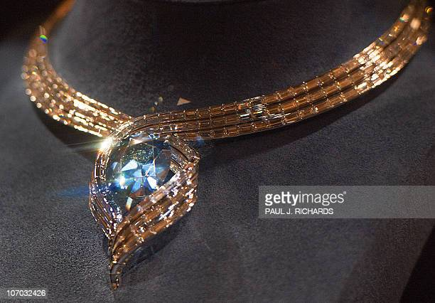 STORY by Virginie Montet USmuseumartdiamond The 'Hope Diamond' seen in its new temporary setting called 'Embracing Hope' is seen during its first day...