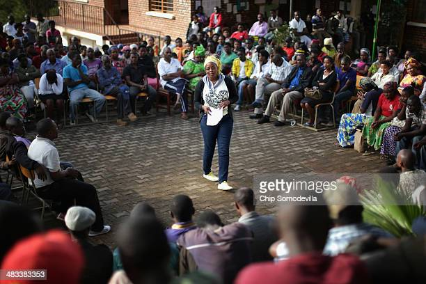 Byabugogo Cell Assistant Secretary Butera Aicha leads a Ibiganiro byo Kwibuka or 'Meeting of Remembering' at the Muhima Sector building April 8 2014...