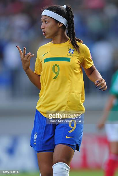 Byanca of Brazil in action during the FIFA U17 Women's World Cup 2012 Group C match between Mexico and Brazil at the 8KM Stadium on September 26 2012...