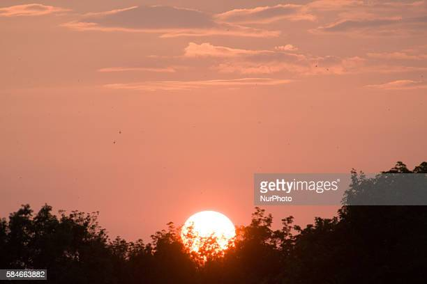 POLAND Bydgoszcz July 29 2016 The sun is seen setting in central Poland on Friday evening Central Europe usually has dry hot summer and even though...