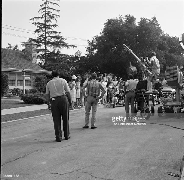 Bye Bye Birdie Movie Shoot. The hit Broadway musical is filmed for the big screen. In this street scene Conrad Birdie arrives at the McAfee residence...