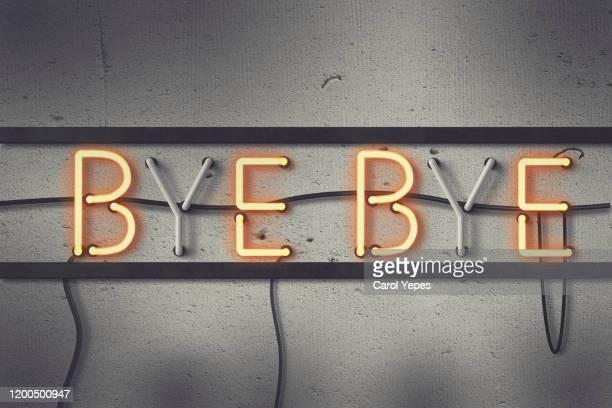 bye bye message in light box - leaving stock-fotos und bilder