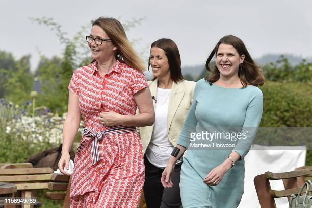 Byelection victor and Welsh Lib Dem leader Jane Dodds MP arrives with Lib Dem leader Jo Swinson MP Kirsty Williams AM for a photocall to celebrate...