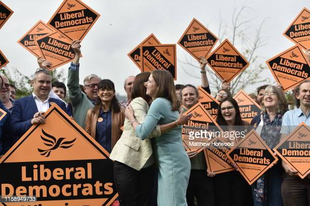 Byelection victor and Welsh Lib Dem leader Jane Dodds MP hugs Lib Dem leader Jo Swinson MP at a photocall to celebrate the victory in the Garden of...