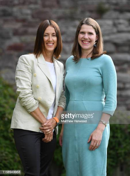 Byelection victor and Welsh Lib Dem leader Jane Dodds MP poses with Lib Dem leader Jo Swinson MP at a photocall to celebrate the victory in the...
