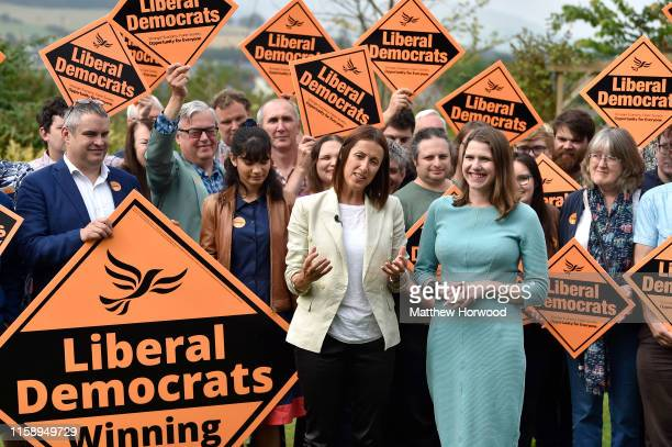Byelection victor and Welsh Lib Dem leader Jane Dodds MP speaks and poses with Lib Dem leader Jo Swinson MP to celebrate the victory in the Garden of...
