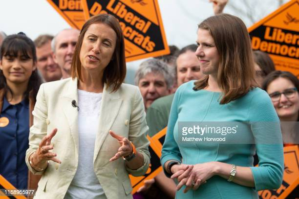 Byelection victor and Welsh Lib Dem leader Jane Dodds MP speaks and poses with Lib Dem leader Jo Swinson MP at a photocall to celebrate the victory...