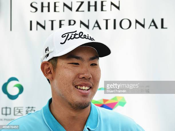 Byeong Hun An of Korea looks on after the first round of the Shenzhen International at Genzon Golf Club on April 16 2015 in Shenzhen China