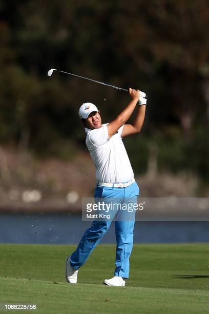 Byeong Hun An of Korea plays a fairway shot on the 17th hole during day two of the 2018 Australian Golf Open at The Lakes Golf Club on November 16...