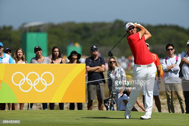 Byeong Hun An of Korea plays his shot from the ninth tee during the final round of men's golf on Day 9 of the Rio 2016 Olympic Games at the Olympic...