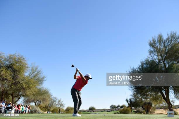 Byeong Hun An of Korea plays his tee shot on the 14th hole during the third round of the Waste Management Phoenix Open at TPC Scottsdale on February...
