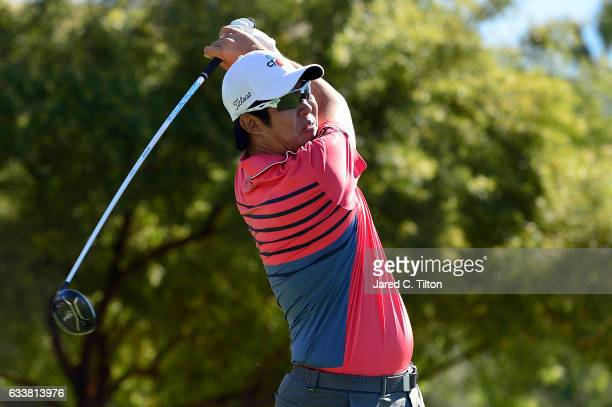Byeong Hun An of Korea plays his tee shot on the fifth hole during the third round of the Waste Management Phoenix Open at TPC Scottsdale on February...