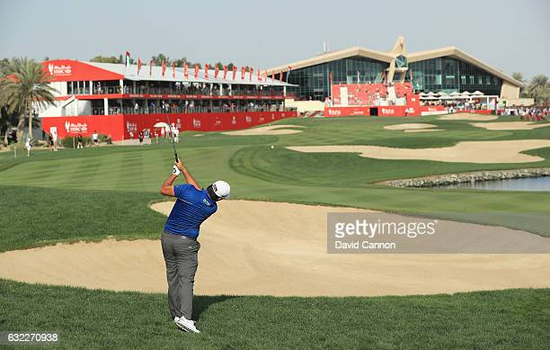 Byeong Hun An of South Korea plays his second shot on the 18th hole during the third round of the Abu Dhabi HSBC Championship at the Abu Dhabi Golf...