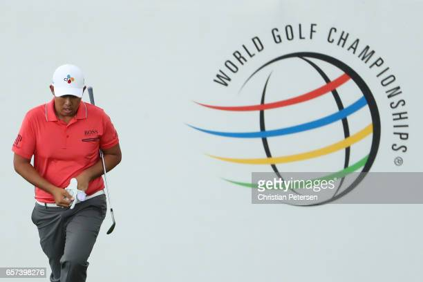 ByeongHun An of Korea plays a shot on the 16th hole of his match during round three of the World Golf ChampionshipsDell Technologies Match Play at...
