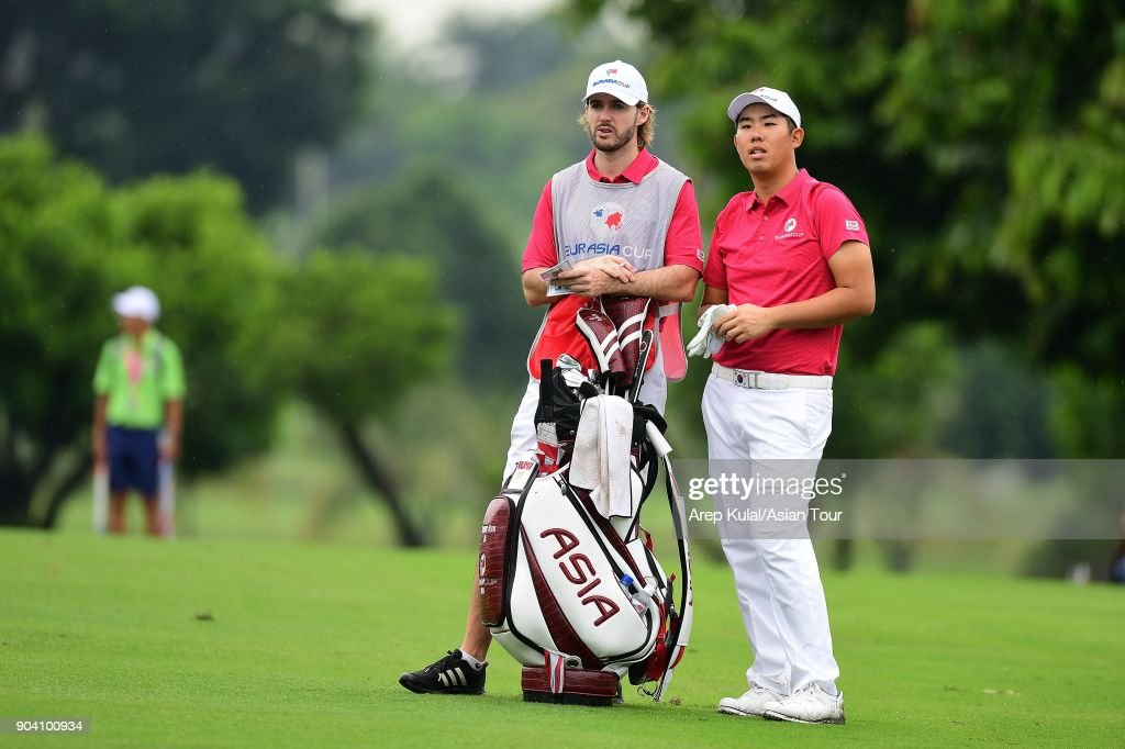 Byeonghun An of Team Asia pictured during the day one of the Eurasia Cup 2018 presented by DRB HICOM at Glenmarie G&CC on January 12, 2018 in Kuala Lumpur, Malaysia.
