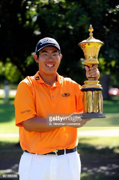 Byeong-Hun An poses with the trophy after winning the Finals of the U.S. Amateur Golf Championship on August 30, 2009 at Southern Hills Country Club...