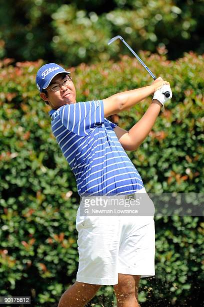 Byeong-Hun An watches a tee shot during the Semifinals of the U.S. Amateur Golf Championship on August 29, 2009 at Southern Hills Country Club in...