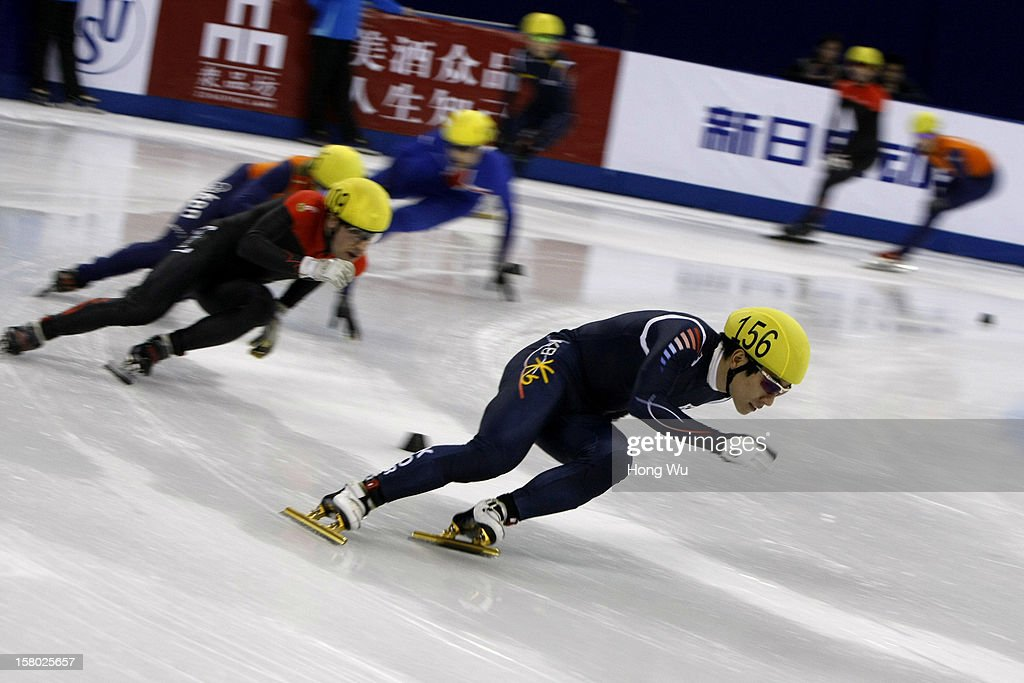 Byeong-Jun Kim of Korea competes in the Men's 5000m Relay Final during the day two of the ISU World Cup Short Track at the Oriental Sports Center on December 9, 2012 in Shanghai, China.