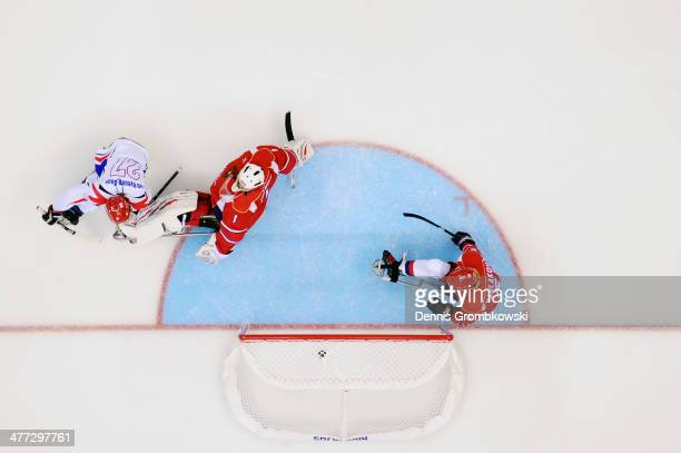 ByeongSeok Cho of Korea scores his team's second goal during the Ice Sledge Hockey Preliminary Round Group A match between the Russia and Korea at...