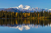 Byers Lake Alaska Fall with Mount McKinley, Denali, background