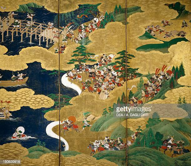 Byobu scenes from the 12th century Gempei war Japan Tosa School Edo Period early 17th century
