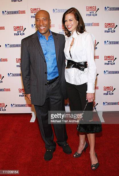 Byron Allen and Brooke Burns during Comics Unleashed Television Premiere Party at Sunset Gower Studios Stage 9 in Hollywood California United States