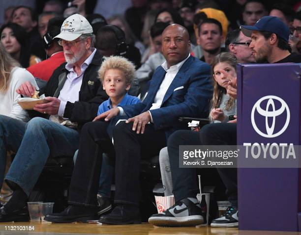 Byron Allen and former tennis player Tommy Haas attends a basketball game between the Los Angeles Lakers and Brooklyn Nets at Staples Center on March...