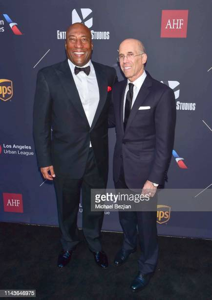 Byron Allen and Jeffrey Katzenberg attend Byron Allen Honored by Los Angeles Urban League on April 18 2019 in Hollywood California