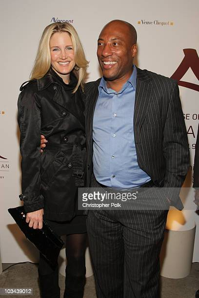 Byron Allen and wife Jennifer Lucas arrive at Crustacean's Ten Year Anniverary with Perfomance by Patti LaBelle on January 262008 in Beverly Hills...