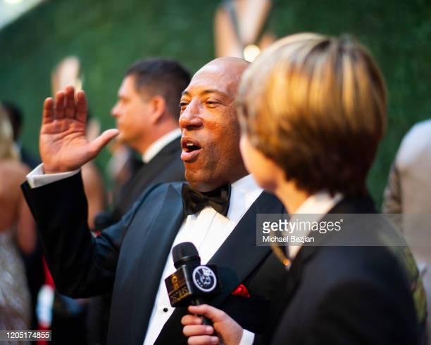 Byron Allen interviews with Ryker Baloun wearing a Toby Lee Jones blazer at the Byron Allen's 4th Annual Oscar Gala to Benefit Children's Hospital...