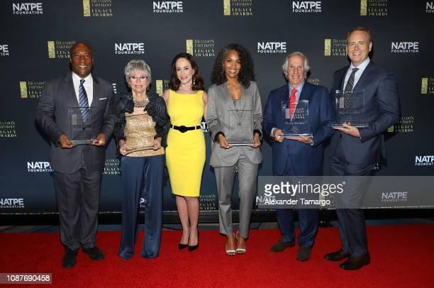 Byron Allen, Rita Moreno, Lilly Tartikoff Karatz, Mara Brock Akil, Henry Winkler and Robert Greenblatt are seen at the 2019 NATPE Miami Brandon...