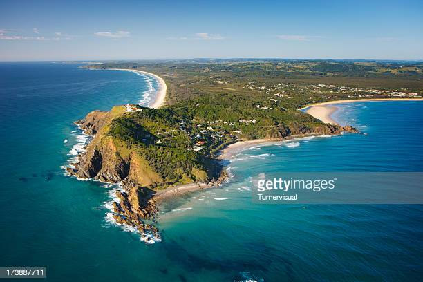 byron bay aerial view - new south wales stock pictures, royalty-free photos & images