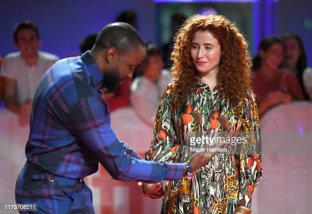 Byron Bowers and Alma Har'el attend the Honey Boy premiere during the 2019 Toronto International Film Festival at Roy Thomson Hall on September 10...