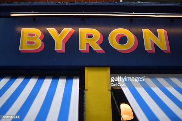 Byron burger restaurant sign is pictured on August 2 2016 in London England The British restaurant chain are alleged to have organised a training day...