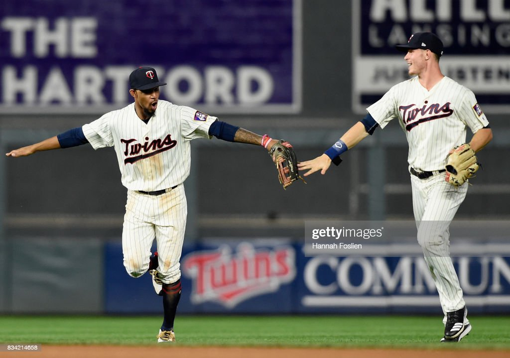 Byron Buxton #25 and Max Kepler #26 of the Minnesota Twins celebrate winning against the Cleveland Indians after game two of a doubleheader on August 17, 2017 at Target Field in Minneapolis, Minnesota. The Twins defeated the Indians 4-2.