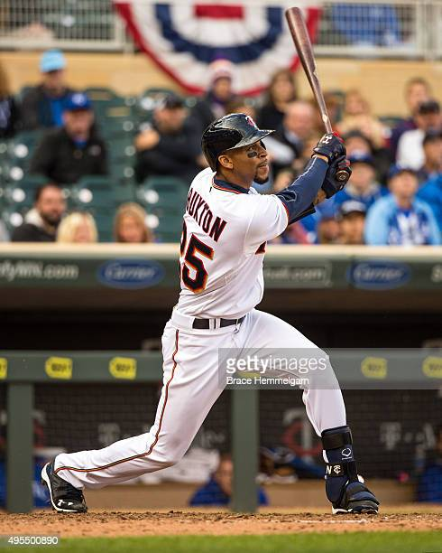 Byron Buxton of the Minnesota Twins bats against the Kansas City Royals on October 4 2015 at Target Field in Minneapolis Minnesota The Royals...