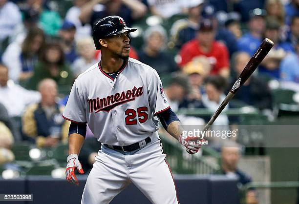 Byron Buxton of the Minnesota Twins bats against the Milwaukee Brewers at Miller Park on April 21 2016 in Milwaukee Wisconsin