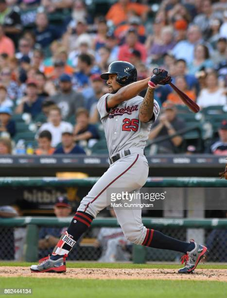 Byron Buxton of the Minnesota Twins bats during the game against the Detroit Tigers at Comerica Park on September 23 2017 in Detroit Michigan The...