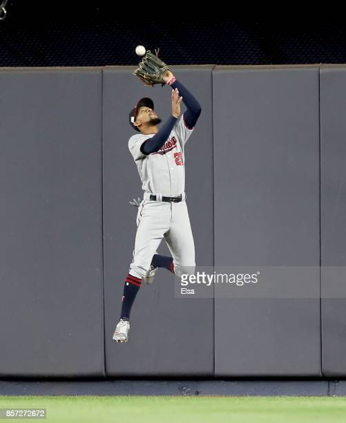 Byron Buxton of the Minnesota Twins catches a hit by Todd Frazier of the New York Yankees for the out in the second inning during the American League...