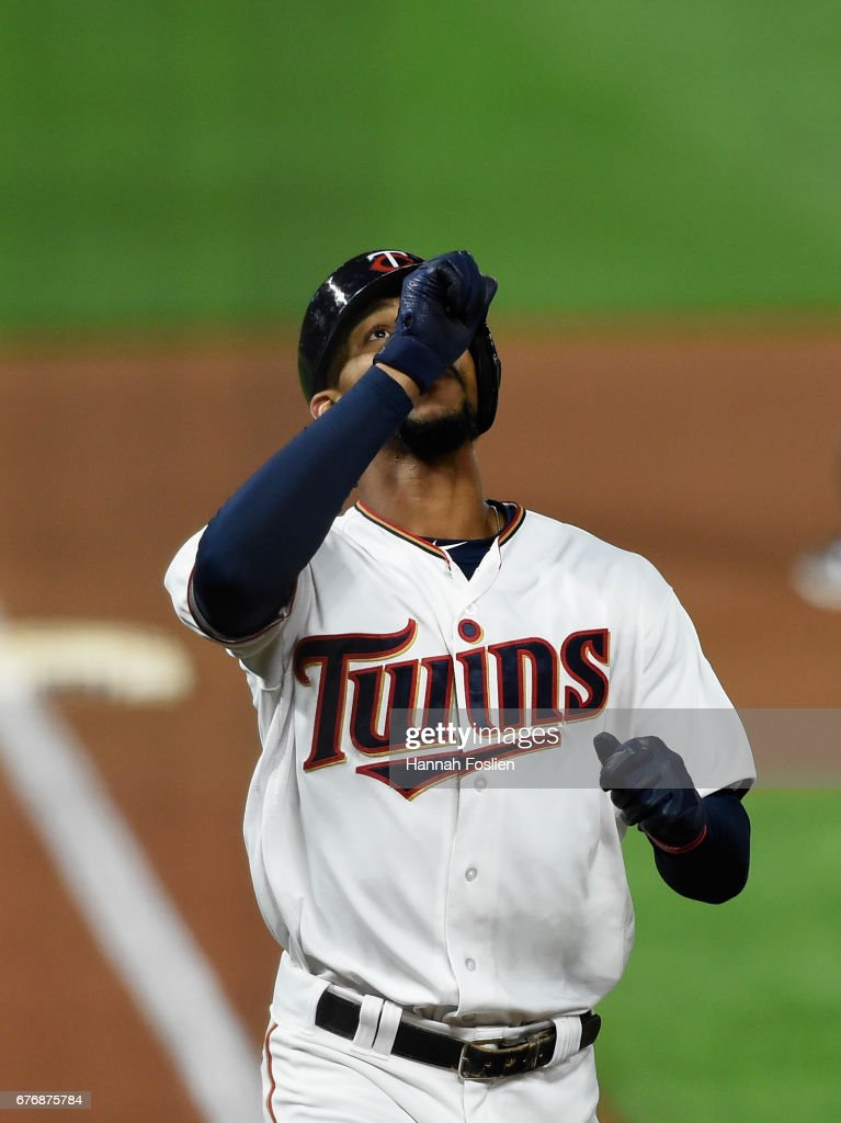 Byron Buxton #25 of the Minnesota Twins celebrates a solo home run against the Oakland Athletics during the seventh inning of the game on May 2, 2017 at Target Field in Minneapolis, Minnesota. The Twins defeated the Athletics 9-1.